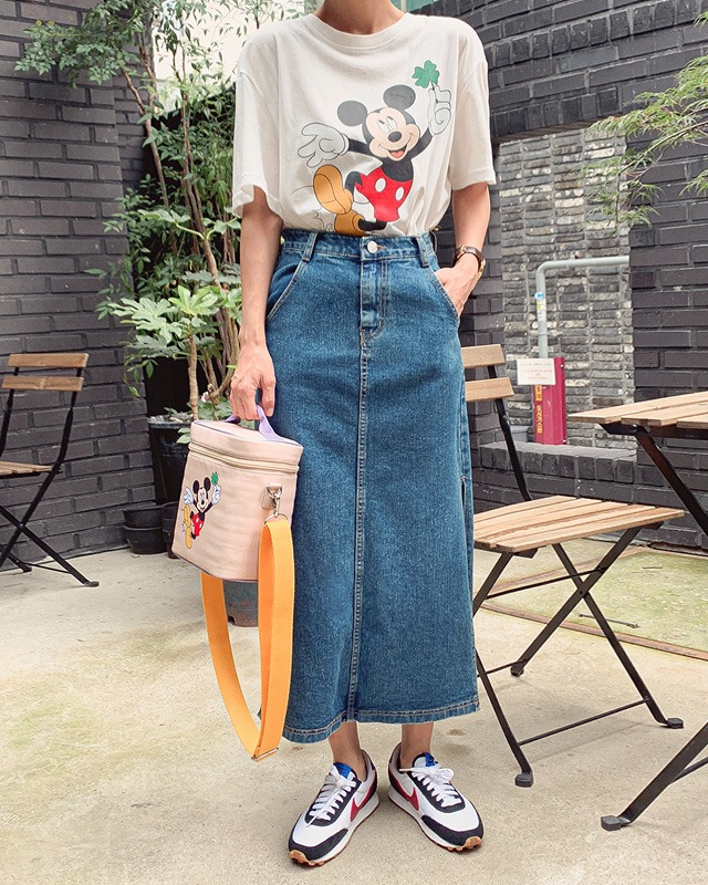 [THX,V]  DEEP SLIT DENIM LONG SKIRT